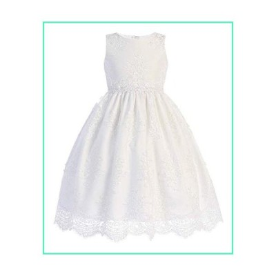 White Big Girls Embroidered lace Tulle Flower Girl First Communion Pageant Wedding Birthday Dress SP164 Size 12並行輸入品
