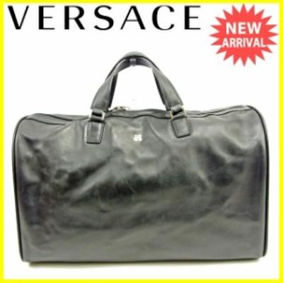 【ラスト1点】 ヴェルサーチ ボストンバッグ ハンドバッグ メデューサ ブラック レザー VERSACE バック 収納 旅行 バッグ 迅速発送 在庫