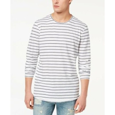 American  ファッション トップス American Rag Mens T-Shirt White Blue Size 2XL Crewneck Tee Striped