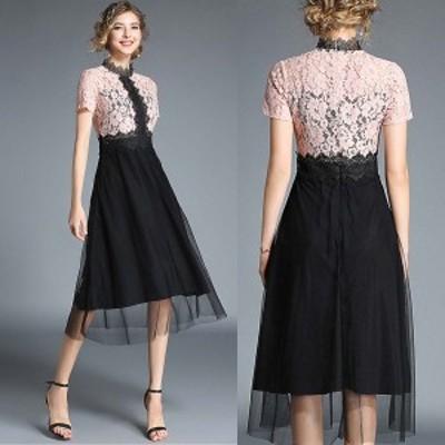 パーティードレス 結婚式 二次会 お呼ばれ ワンピース 袖あり お呼ばれドレス ドレス 20代 30代 40代 切替え ロング