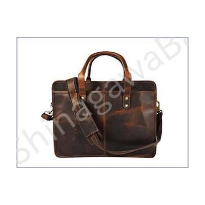 Buffalo Leather Briefcase Messenger Bag 17 Inch Laptop Satchel Shoulder Bags, Hickory Brown並行輸入品