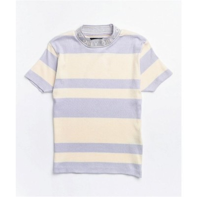 オベイ OBEY レディース トップス lavender stripe mock neck top Purple
