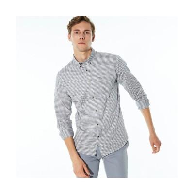 【ラコステ】 ギンガムチェックボタンダウンシャツ メンズ ライト グレー 2(日本サイズS) LACOSTE