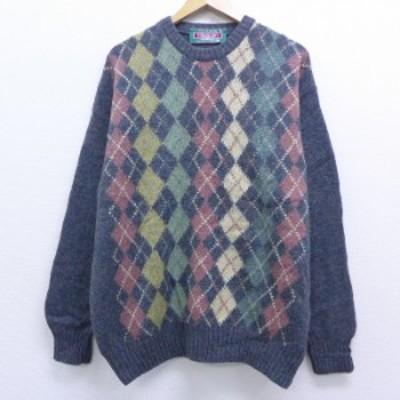 古着 長袖 セーター 90年代 90s アーガイル ウール クルーネック アイルランド製 グレー XLサイズ 中古 メンズ ニット トップス セーター