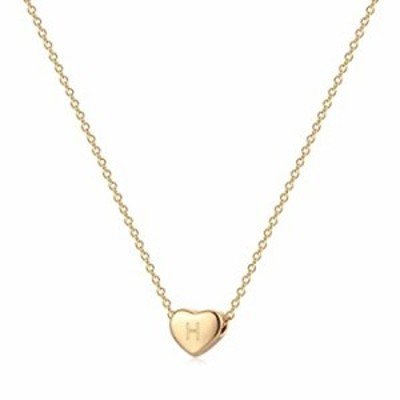 Valloey Rover Tiny Gold Initial Heart Necklace, 14k Gold Plated Delicate Cute Dainty Charm Initial Alphabet Letter Love Heart Ch