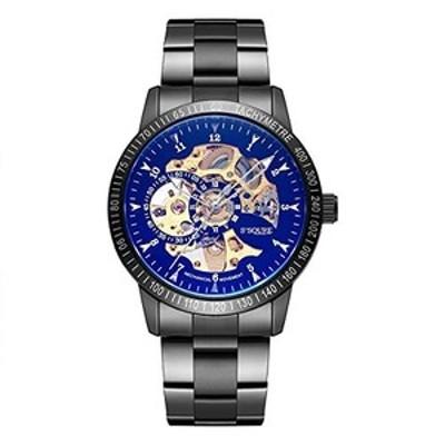 s2squre 腕時計 メンズ 夜光 防水 スケルトン 防水 ステンレス鋼バンド おしゃれ 自動巻き (ブラック)