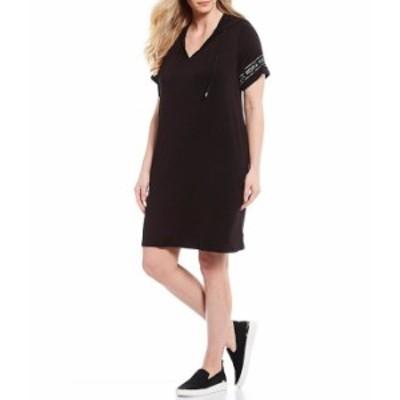 マイケルコース レディース ワンピース トップス MICHAEL Michael Kors Plus Size Stretch Knit Jersey Logo Sleeve Trim Hoodie Dress B