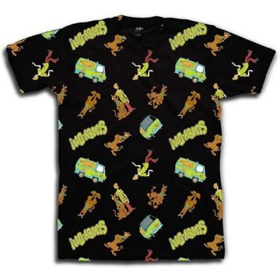 メンズ 衣類 トップス Scooby Doo Mens Throwback Shirt Shaggy Velma Tee - Throwback Classic T-Shirt (Black Allover Medium) Tシャツ