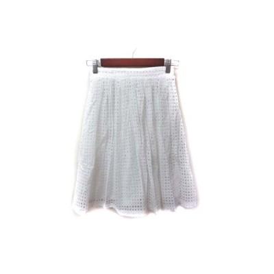 【中古】ダズリン dazzlin フレアスカート ギャザー ひざ丈 刺繍 F 白 ホワイト /YI レディース 【ベクトル 古着】