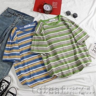 Tシャツ夏レディース半袖Tシャツボーダー柄夏Tシャツ半袖カットソー縞柄TシャツゆったりTシャツレトロボーダー柄Tシャツ