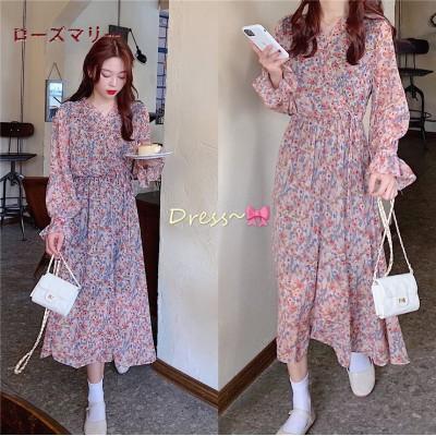 ローズマリー  韓国ファッション 🌸 売れ筋の商品 花柄 シフォンの長袖ワンピース ロングワンピース   大人気   可愛い  202003709