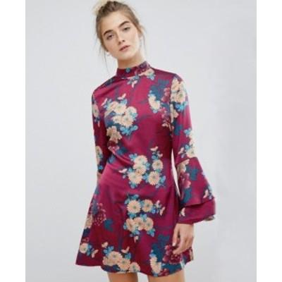 エイソス ASOS パリ風 ハイネック フローラル フレアスリープ ドレス ワンピース 送料無料 レディース ファッション