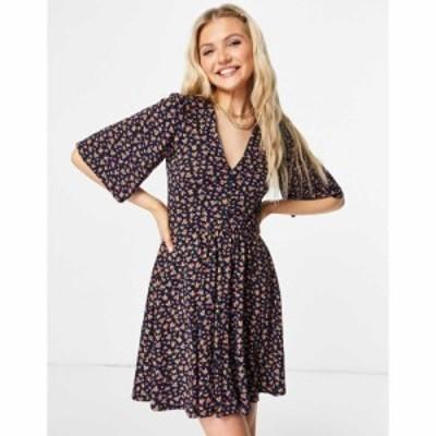 エイソス ASOS DESIGN レディース ワンピース ワンピース・ドレス mini swing dress in navy floral print ネイビーフローラルプリント