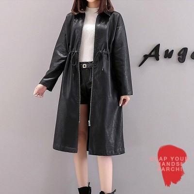 大きいサイズ コート レディース ファッション ぽっちゃり おおきいサイズ フェイクレザー ハイウエスト ステンカラー LL 3L 4L 5L 秋冬
