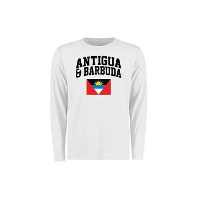 海外バイヤーおすすめ Tシャツ トップス ウエア Antigua & Barbuda ホワイト フラッグ 長袖 Tシャツ