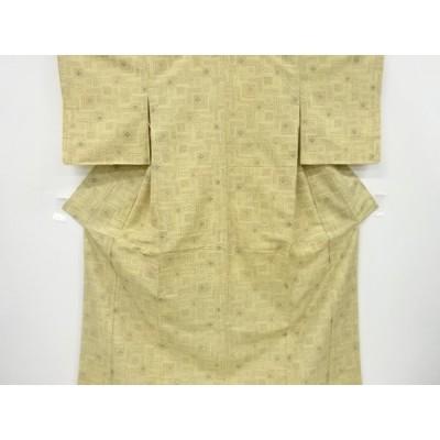 リサイクル 色紙に花菱模様織り出し手織り紬着物