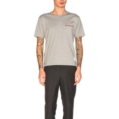 トム ブラウン Thom Browne メンズ Tシャツ ポケット トップス Jersey Cotton Short Sleeve Pocket Tee Light Grey