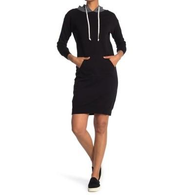 スティッチドロップ レディース ワンピース トップス Colorblock Hooded Sweatshirt Dress BLACK