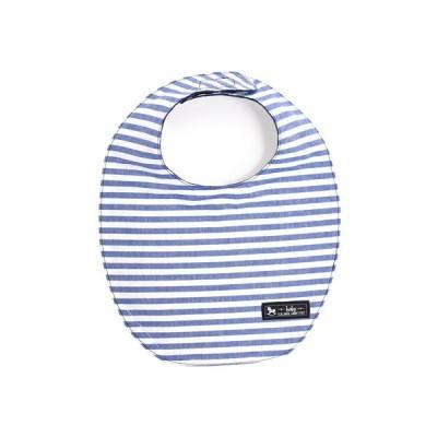 スタイ 丸型タイプ ベーシックボーダー・青 (ビブ よだれかけ 大きめ お食事 前掛け 赤ちゃん ベビー 出産祝い ギフト)