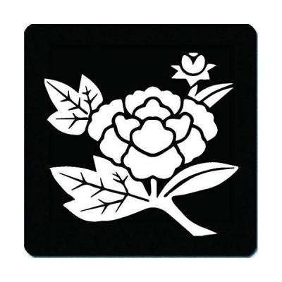 家紋 捺印マット 津軽為信 枝牡丹(牡丹の折枝) 11cm x 11cm KN11-3285-01W 白紋