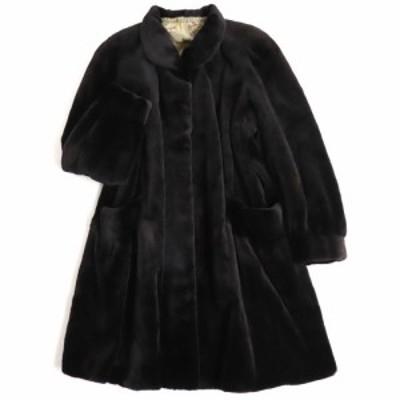 極美品▼MINK シェアードミンク 裏地総柄 本毛皮セミロングコート ブラック 毛質柔らか◎