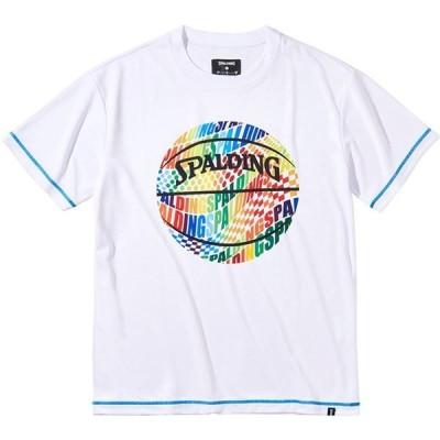 Tシャツ オプティカルレインボー spalding スポルディング バスケットハンソデTシャツ (smt211060-2000)