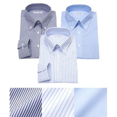 抗菌防臭・形態安定長袖ワイシャツブルー系3枚組(ボタンダウン) (ワイシャツ)Shirts,