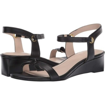 コールハーン Cole Haan レディース サンダル・ミュール ウェッジソール シューズ・靴 Halsey Wedge Sandal (40 mm) Black Leather Brushed Gold