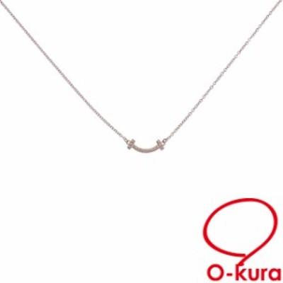 中古 ティファニー Tスマイル ネックレス レディース ダイヤモンド K18PG 2.1g 18金 750