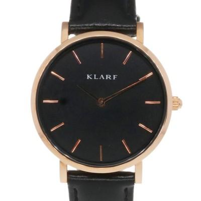 クラーフ KLARF SS 腕時計 クラシックゴールド&ブラック ステンレススチール レザー ブラック ゴールド【SH】 新品【BIM】