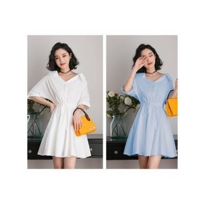 シンプル 襟付き パーティードレス フレアスカート ミニ丈 レディース ワンピース お呼ばれドレス kh-0640