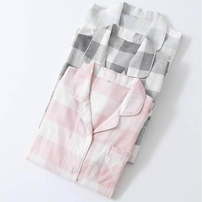 ペアパジャマ カップルパジャマ 春秋 パジャマ 前開き 男女上下セット シャツパジャマ ランジェリー 襟付き レディース/メンズ ナイトウェア 単品売り