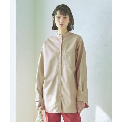 【ティティベイト】 エコレザーバンドカラーシャツ レディース アイボリー M titivate