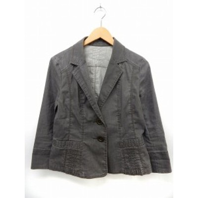 【中古】ミッシェルクラン MICHEL KLEIN ジャケット アウター テーラード ポケット ウォッシュ加工 42 グレー