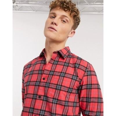 ニュールック メンズ シャツ トップス New Look plaid check shirt in red