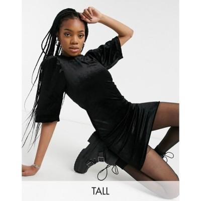ノイジーメイトール レディース ワンピース トップス Noisy May Tall mini dress in black velvet
