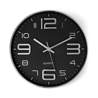 Bernhard Products Black Wall Clock 12 Inch Stylish Modern Silver Silent Non-Ticking Quartz Battery Operated Round 3D Decorative Design for H