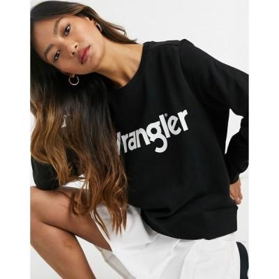 ラングラー レディース パーカー・スウェットシャツ アウター Wrangler logo sweatshirt in black Black