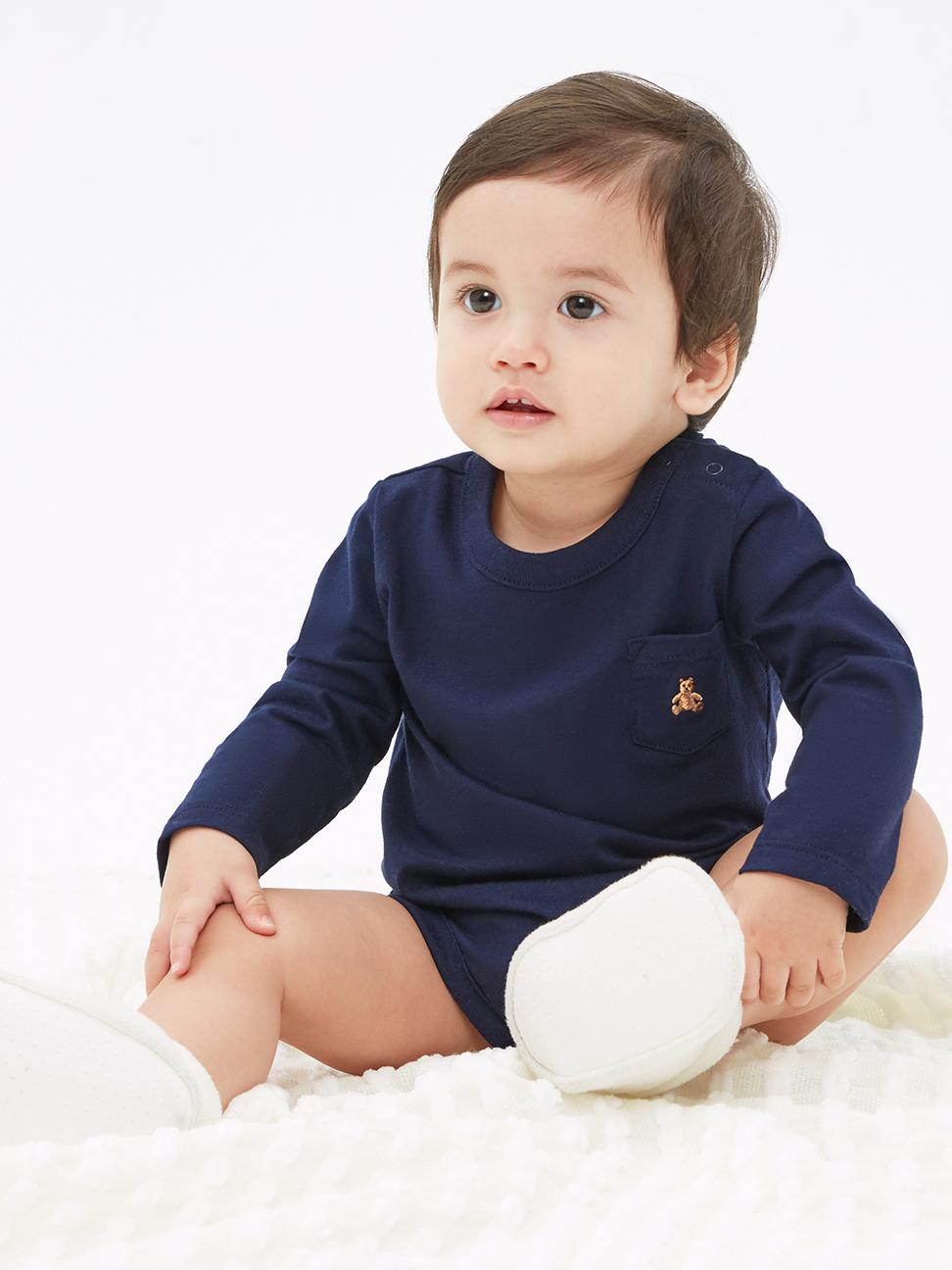 嬰兒 簡約風格小熊刺繡長袖包屁衣