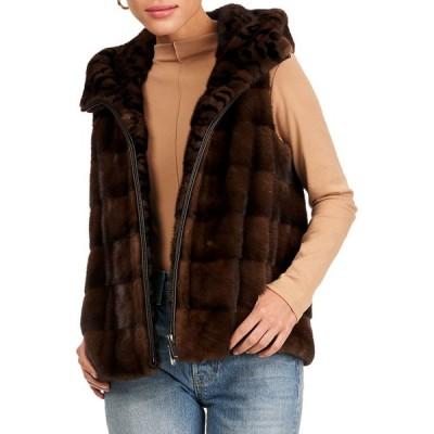ゴルスキ レディース ベスト トップス Horizontal Mink Fur Vest W/ Hood