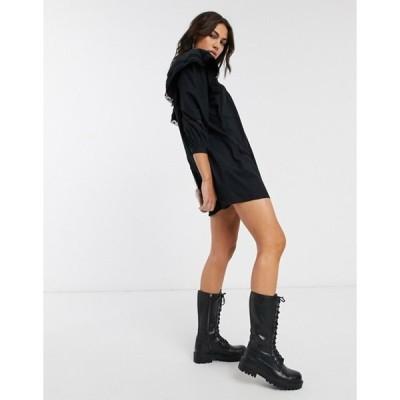 ベルシュカ レディース ワンピース トップス Bershka lace detail poplin smock dress in black