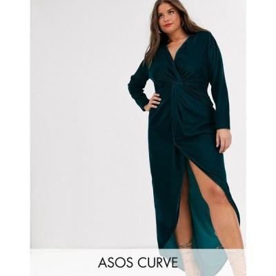 エイソス ASOS Curve レディース ワンピース マキシ丈 asos design curve long sleeve maxi dress with knot front bodice in velvet ディープティール