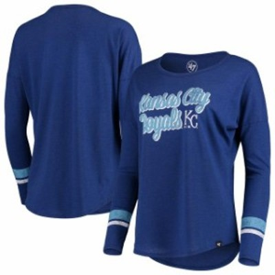 47 フォーティーセブン スポーツ用品  47 Kansas City Royals Womens Royal Club Courtside Stripe Long Sleeve T-Shirt