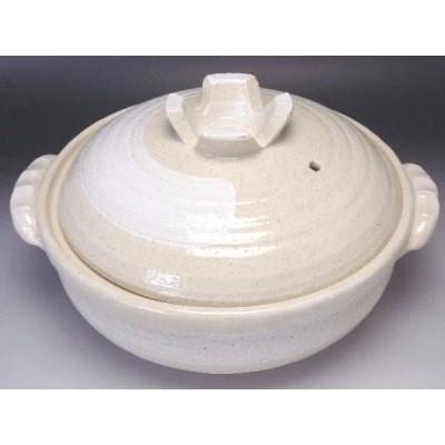 白刷毛目 深鍋8号(2〜3人用)【日本製萬古焼土鍋】 [普段使いの食器]