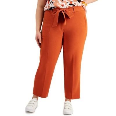 バースリー カジュアルパンツ ボトムス レディース Trendy Plus Size Belted Straight-Leg Pants, Created for Macy's Terracotta