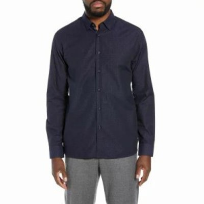 テッドベーカー シャツ Myll Slim Fit Jacquard Sport Shirt Navy