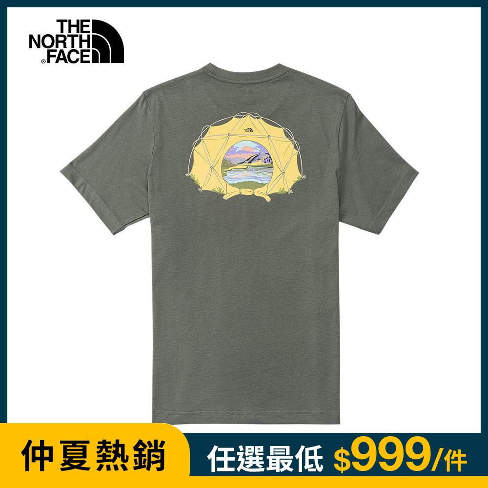 The North Face北面男款墨綠色帳篷景緻印花短袖T恤|4U9MV38