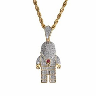 charlinliol 18k Gold Plated Necklace Iced Out Cubic Zirconia Astronaut Pendant Hip Hop Jewelry Spaceman Chain for Men and Women