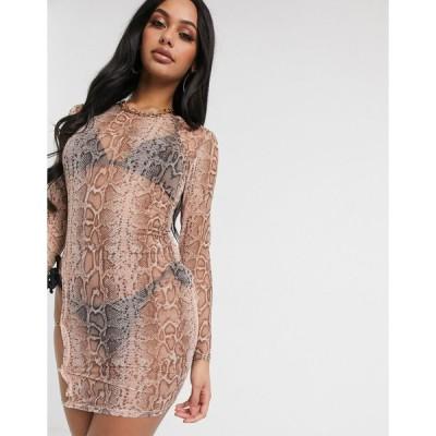 サウスビーチ ミディドレス レディース South Beach Thigh Detail Sheer Mini Dress エイソス ASOS ピンク