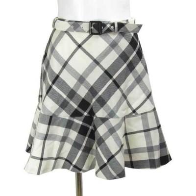 ブルーレーベル クレストブリッジ 白 チェック スカート 36
